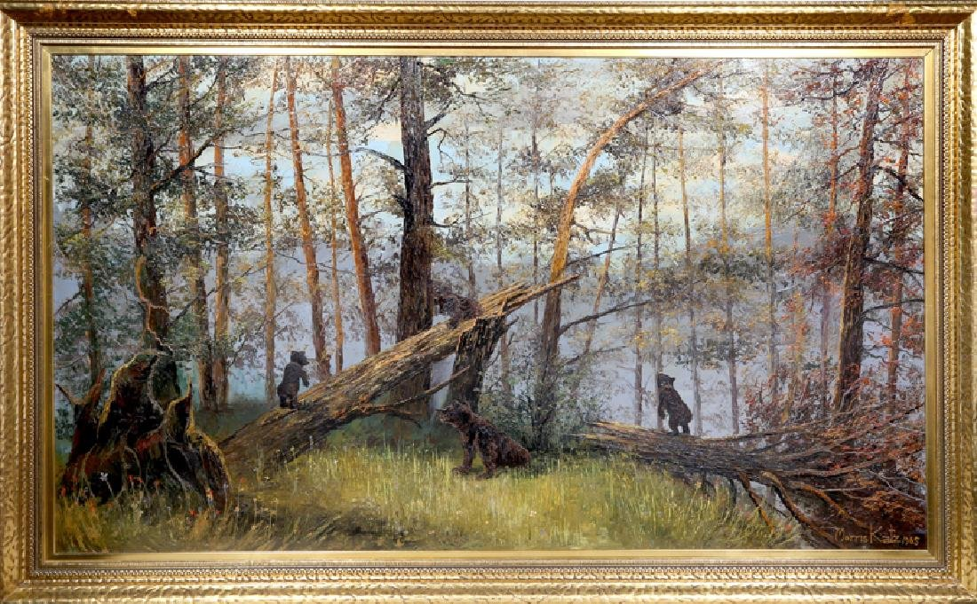 Morris Katz, Bears in the Forest, Oil Painting