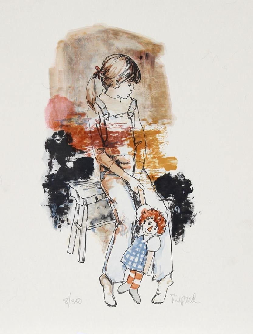 Richard Shepard, Girl with Raggedy Ann Doll, Lithograph