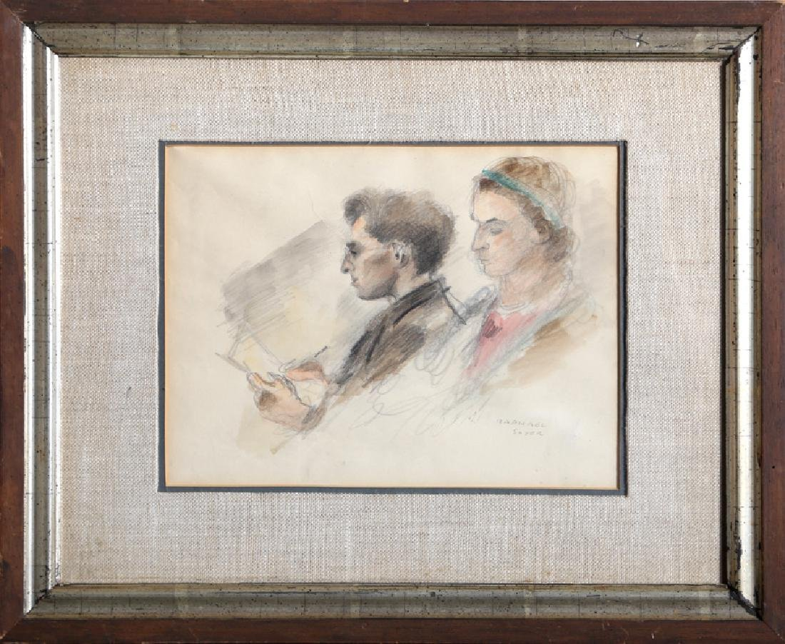 Raphael Soyer, Reading Couple, Pencil and Watercolor