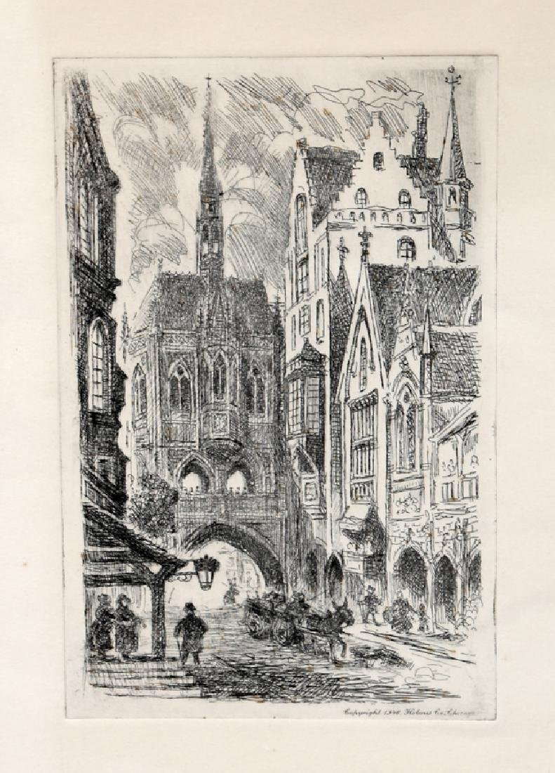 Chicago Street Scene, Aquatint Etching by Holmes