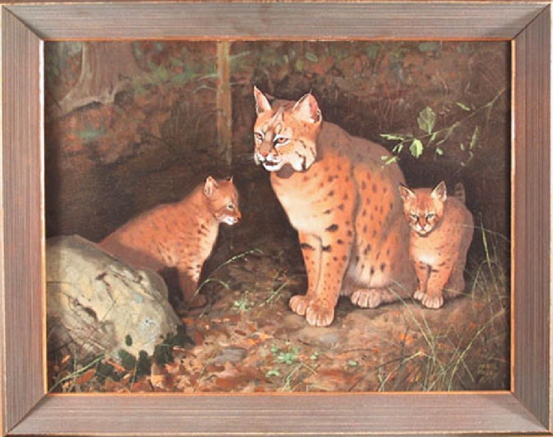 Marcel Bordei, Double Trouble - Bobcat Family, Acrylic