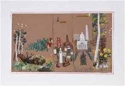 Dong Kingman, Washington, DC, Gouache Painting