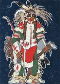 Kevin Red Star Crow Warrior Serigraph