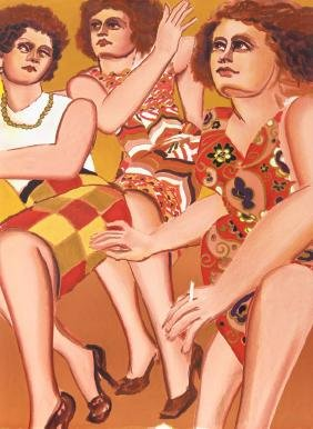 Lester Johnson, Three Women, Lithograph