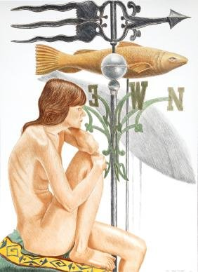 Philip Pearlstein, Nude Model with Banner and Fish