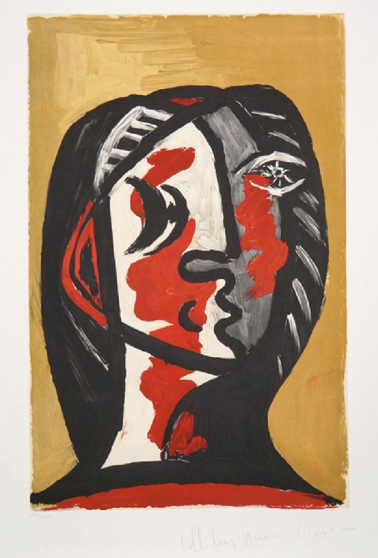 Pablo Picasso, Tete de Femme en Gris et Rouge sur Fond
