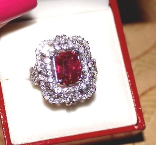 7 CT GRS CERTIFIED ESTATE UNHEATED (NO HEAT) RUBY RING