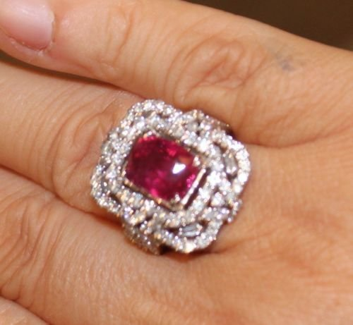 7 CT GRS CERTIFIED ESTATE UNHEATED (NO HEAT) RUBY RING - 2
