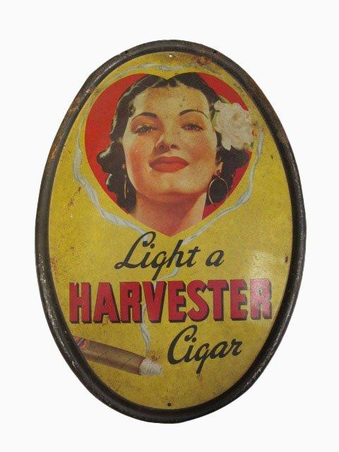 Harvester Cigar Tin Oval Sign