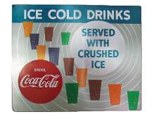 """Coca-Cola """"Ice Cold Drinks"""" Vending Machine Front Sign"""