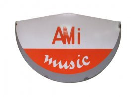 Very Rare Porcelain Ami Music Distributor Sign