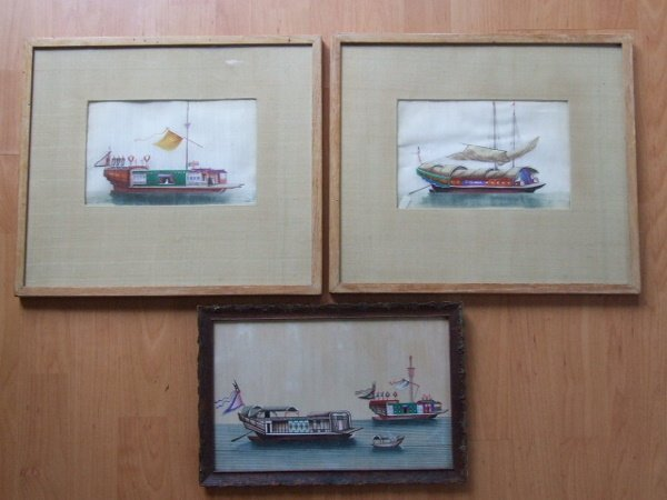 8A: 3 Chinese Ship Paintings 19th C.