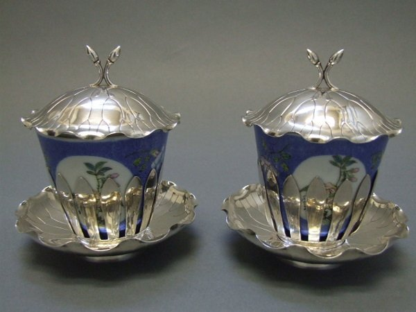 11A: Chinese Silver Cup Holders with Porcelain Cups
