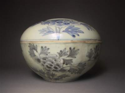 77: Korean Blue and White Lidded Bowl