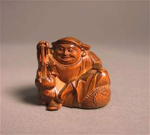 Japanese Wooden Figural Study