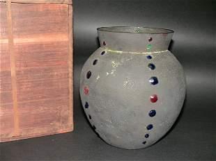 Japanese Fujii Cloisonne on Metal Vase