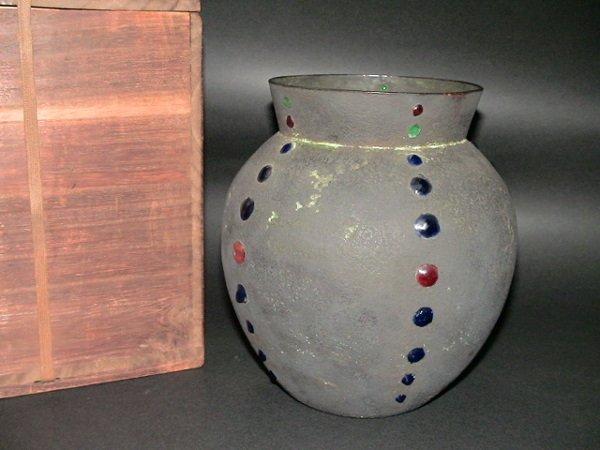13: Japanese Fujii Cloisonne on Metal Vase