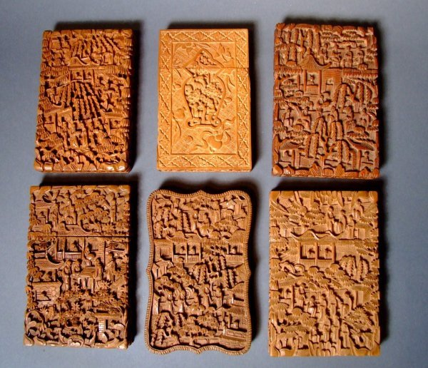 6: Six Chinese Carved Wooden Card  Cases