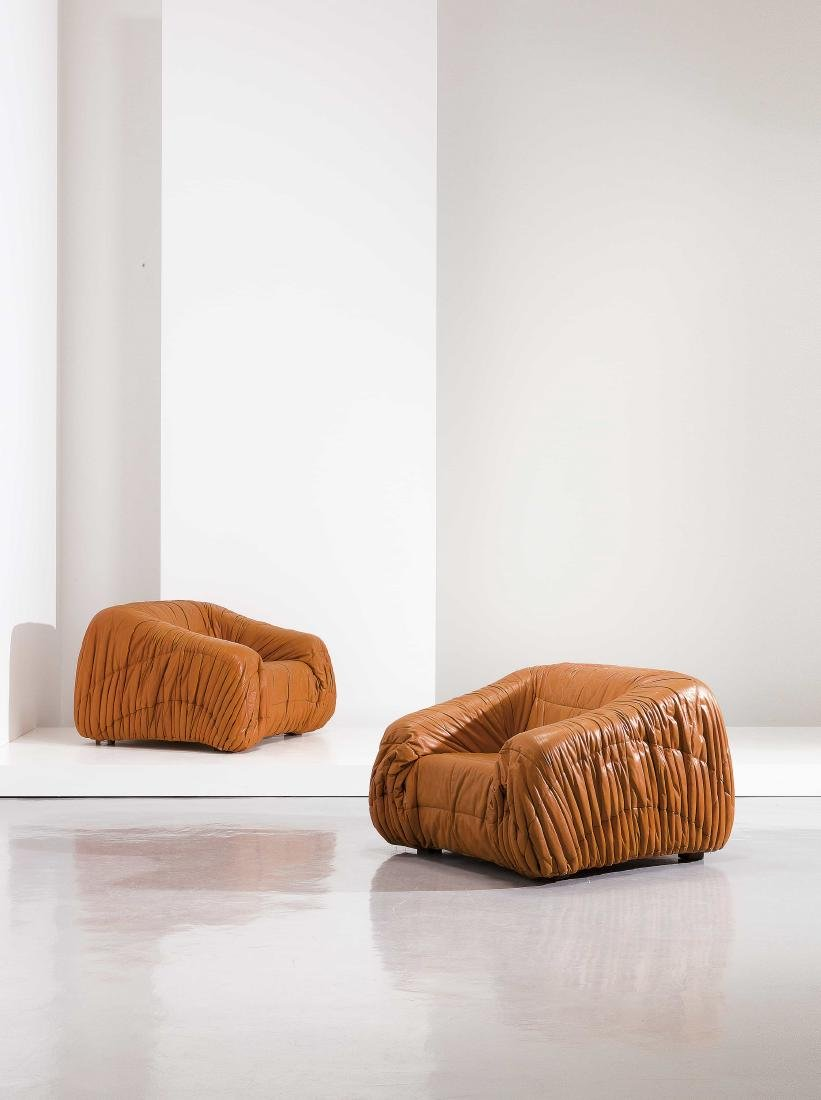 DE PAS, D'URBINO E LOMAZZI - A PAIR OF ARMCHAIRS BY DE