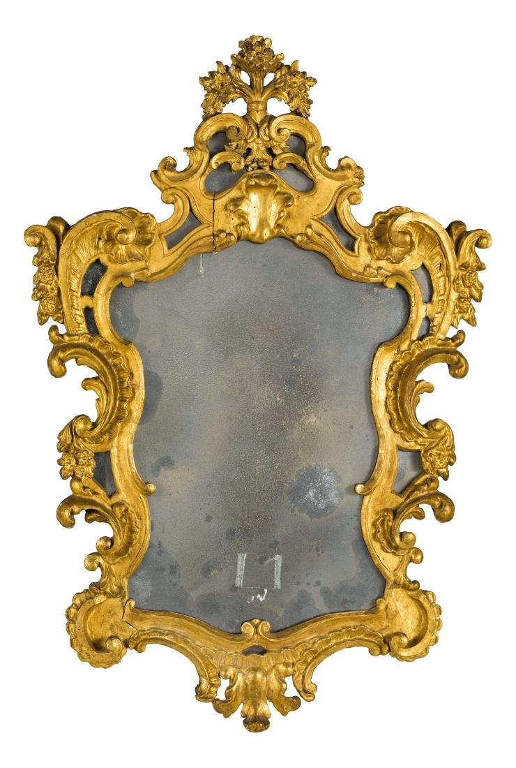 SPECCHIERA IN LEGNO INTAGLIATO E DORATO, XVIII-XIX