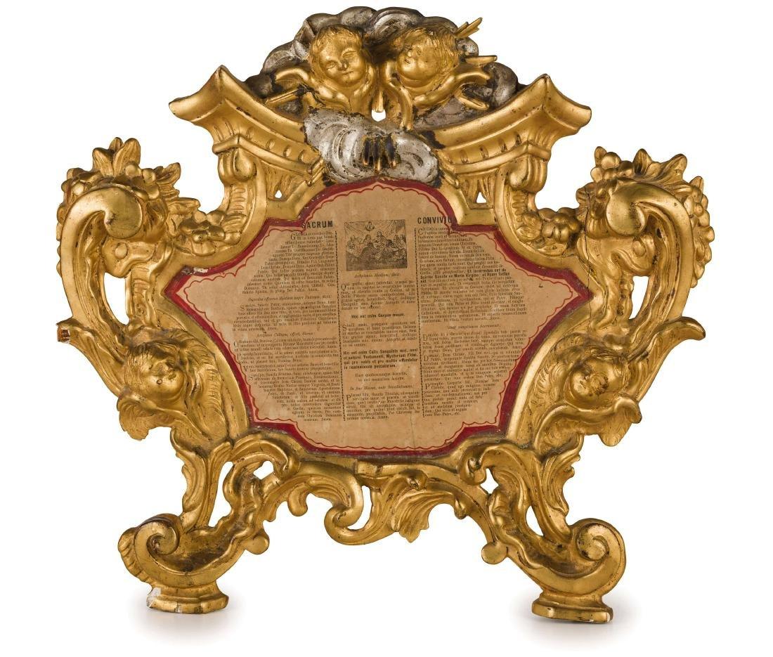 TRE CARTAGLORIA IN LEGNO INTAGLIATO E DORATO, XVIII