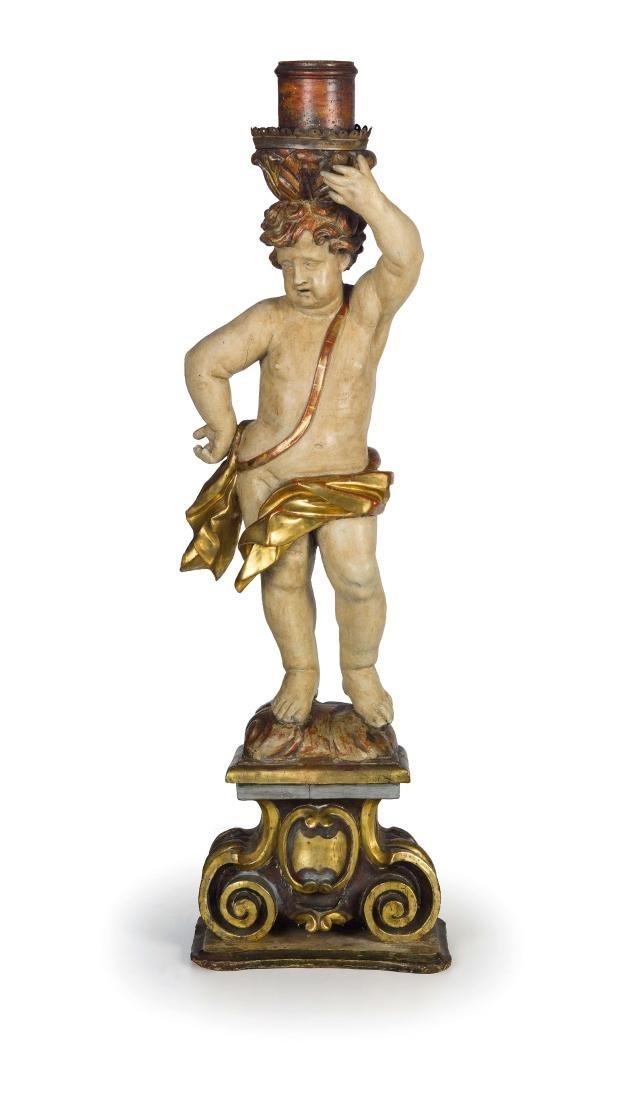 SCULTURA IN LEGNO LACCATO E DORATO, XVII-XVIII SECOLO