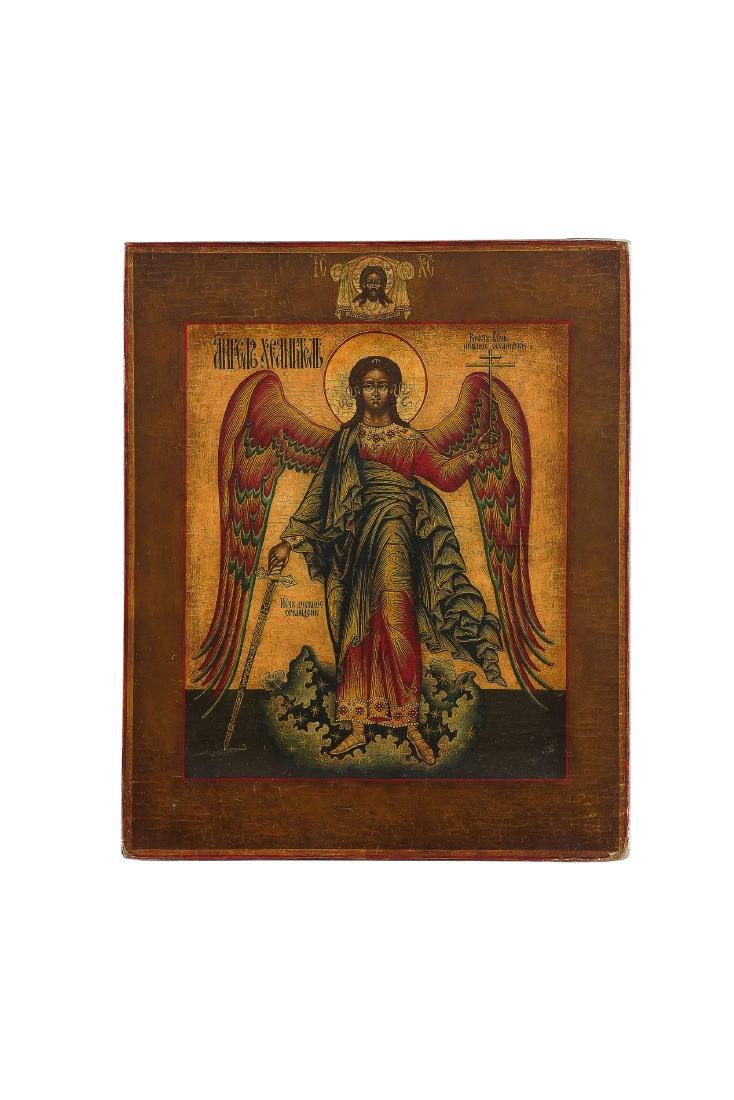 ICONA RAFFIGURANTE L'ANGELO CUSTODE, RUSSIA, XIX-XX