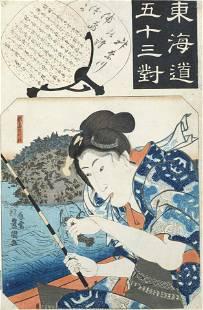 FIVE FRAMED WOODBLOCK PRINTS SIGNED KITAGAWA UTAMARO