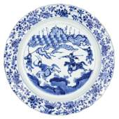 A LARGE BLUE AND WHITE PORCELAIN DISH, CHINA, QING
