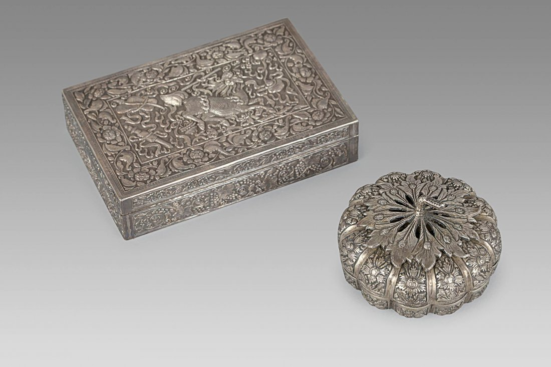 TWO SILVER BOXES AND COVERS, CHINA, 19TH CENTURY (2)