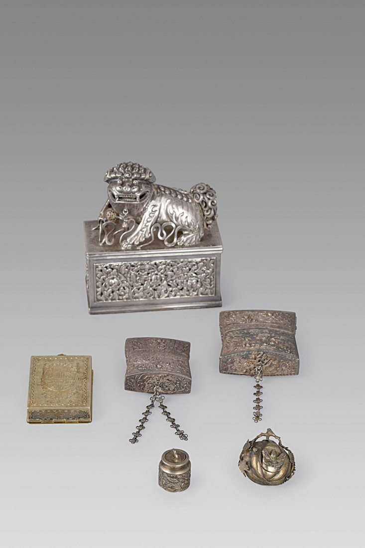 A GROUP OF FINELY CARVED SILVER OBJECTS, CHINA, 19TH