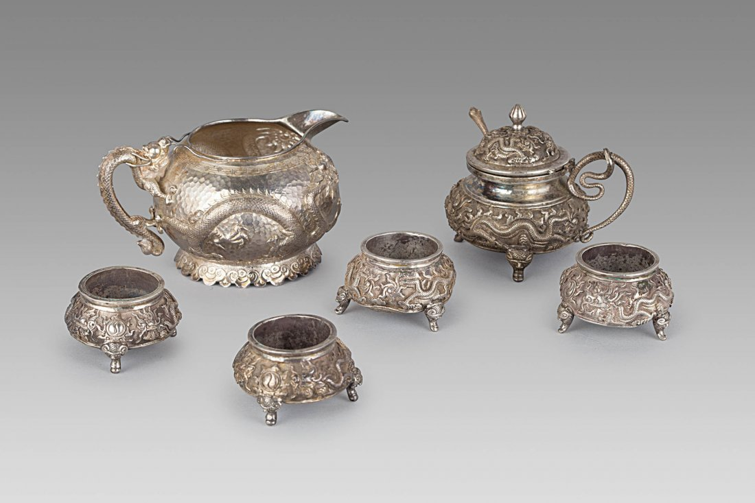 """SIX """"DRAGON AND LOTUS"""" SILVER OBJECTS, CHINA, 19TH-20TH"""