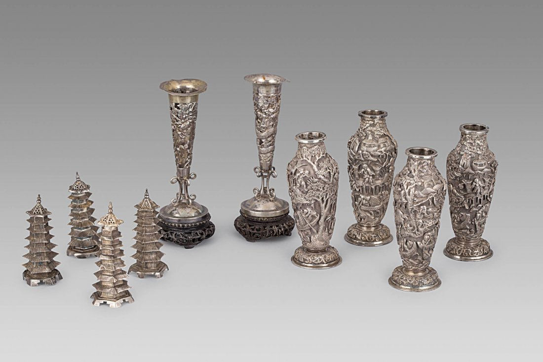 TEN SILVER OBJECTS, CHINA, 19TH-20TH CENTURY (10)