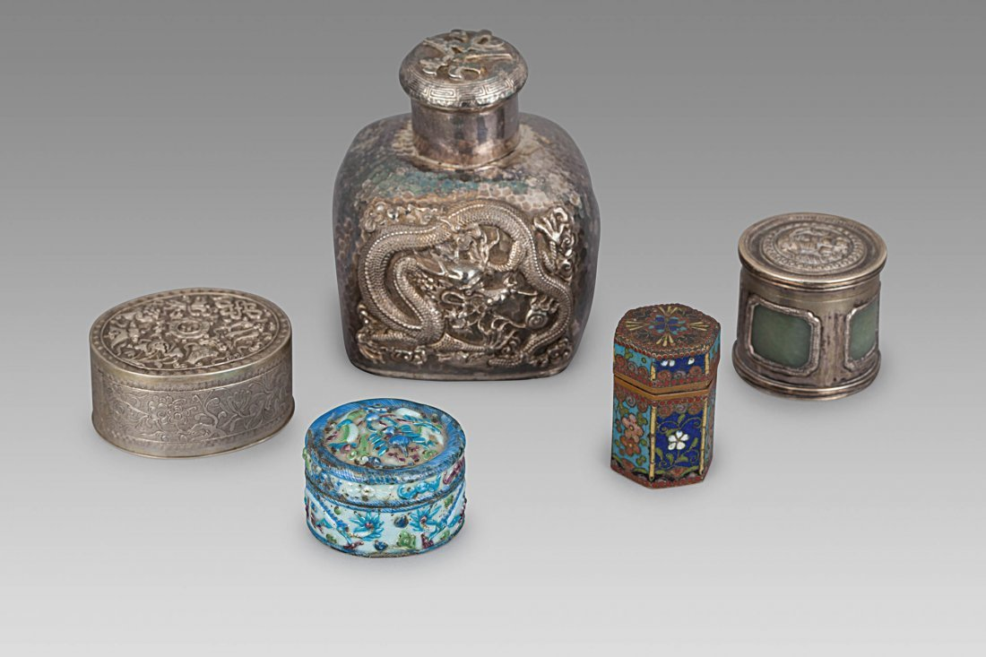 FIVE SILVER OBJECTS, CHINA, LATE QING DYNASTY (5)