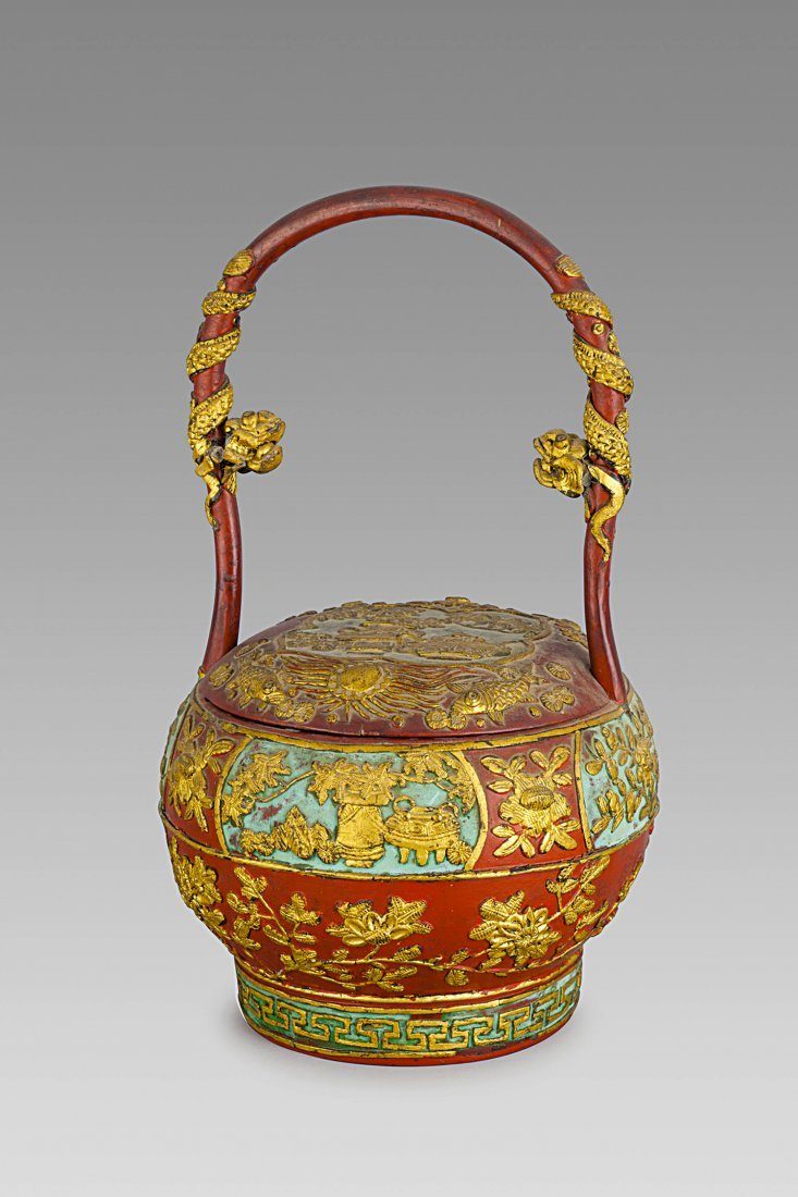 A PAINTED WOOD STAND, TOGETHER WITH A CHINESE LAQUERED