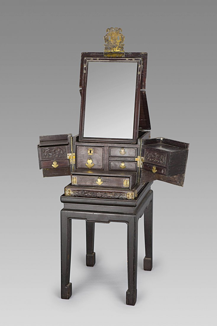 A WOOD TRAVELLING CASE AND ITS STAND, CHINA, QING