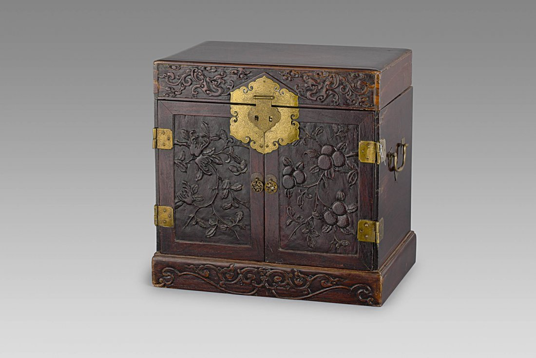 A WOOD TRAVELLING CASE, CHINA, QING DYNASTY, 19TH