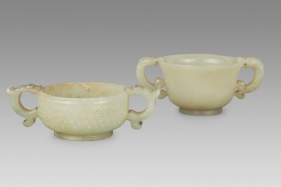 TWO JADE BOWLS,CHINA, 18TH-19TH CENTURY (2)