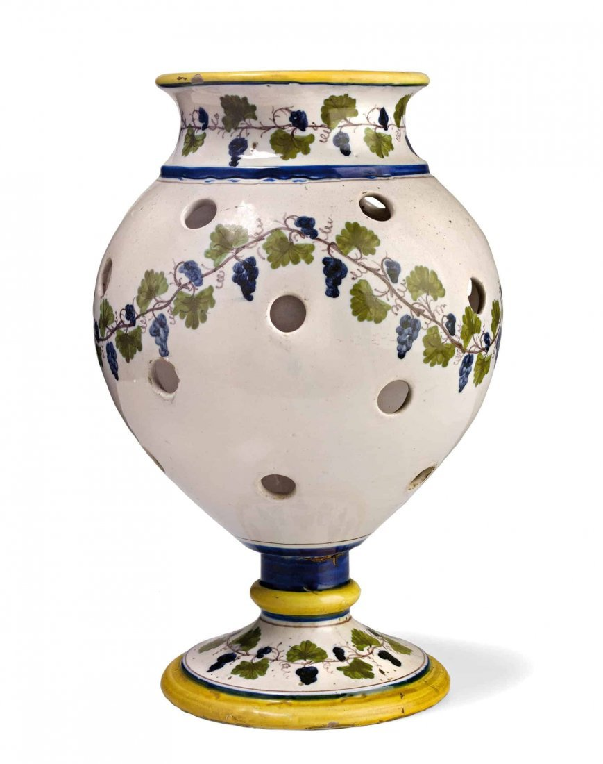 VASO POT POURRI IN MAIOLICA POLICROMA