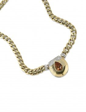 Collana In Oro Quarzo E Diamanti, Bulgari