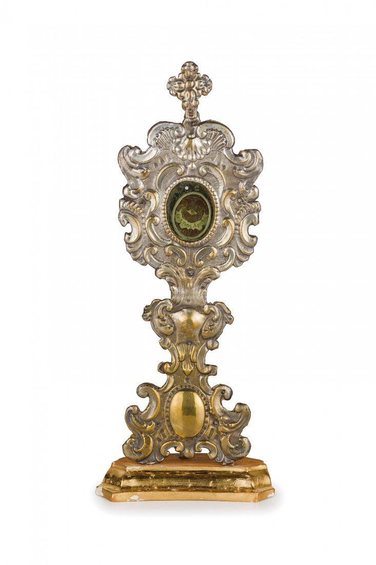 RELIQUIARIO IN LEGNO E METALLO ARGENTATO, XVIII-XIX
