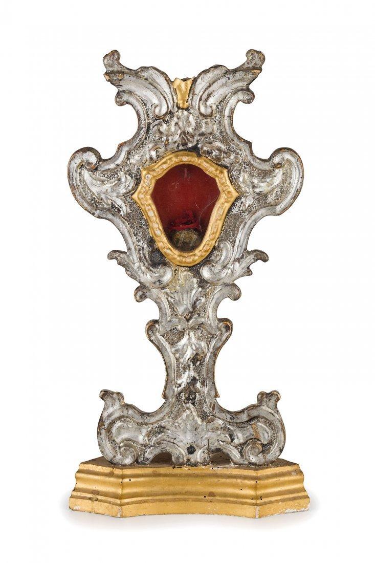 PORTA RELIQUIA IN LEGNO DORATO E ARGENTATO, XVIII-XIX