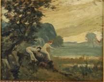 Louis Michel Eilshemius, Bathers, Oil on Board