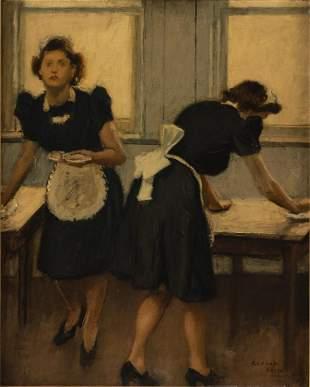 Raphael Soyer, Waitresses, Oil on Canvas