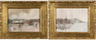 Illegibly Signed, Pair of Landscapes, Oil on Board