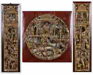 3 Chinese Carved Giltwood Panels