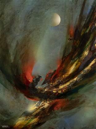 Leonardo Nierman, Abstract with Moon, Oil on Board