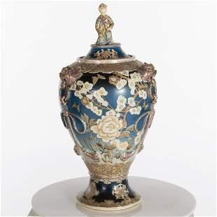 Large Japanese Satsuma Lidded Urn, 19th Century