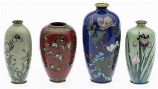 4 Japanese Cloisonne Miniature Vases