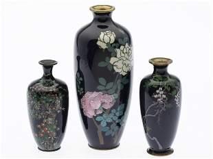 3 Japanese Cloisonne Miniature Vases